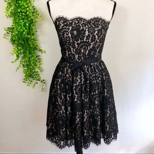 Robert Rodriguez Scalloped Black Floral Lace Dress